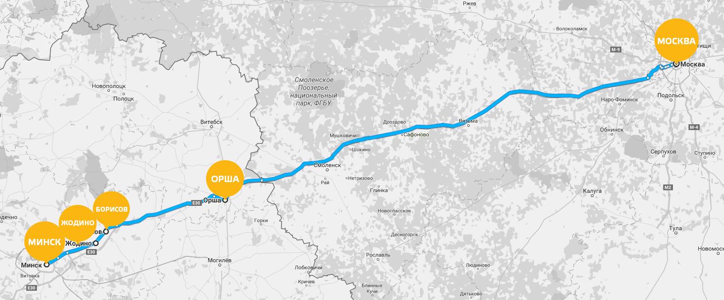Минск Москва карта